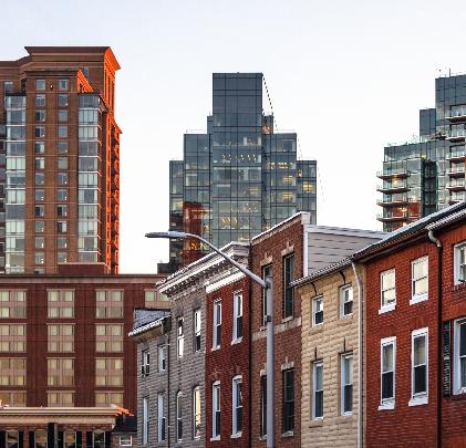 City skyline apartments