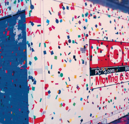 PODS for Business Secure Storage Container Covered in Confetti New YEars