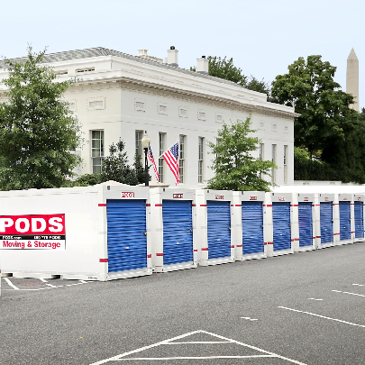 row of PODS containers for white house renovation