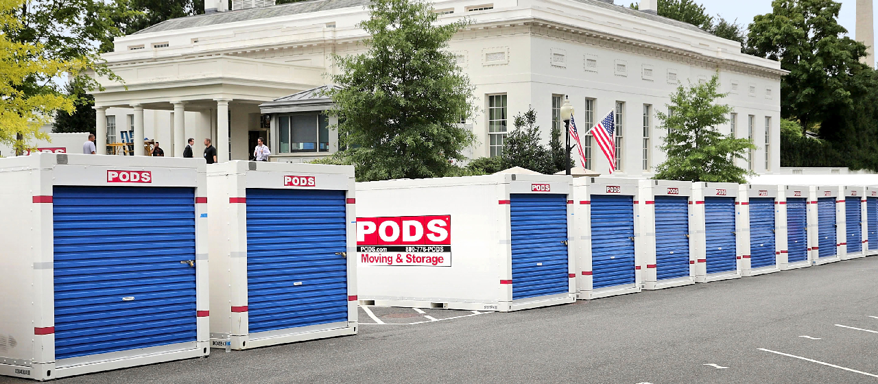 PODS containers on site for white house renovation