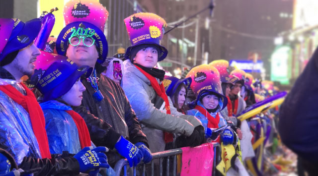 Ball Drop Viewers at Times Square New Years Eve Event