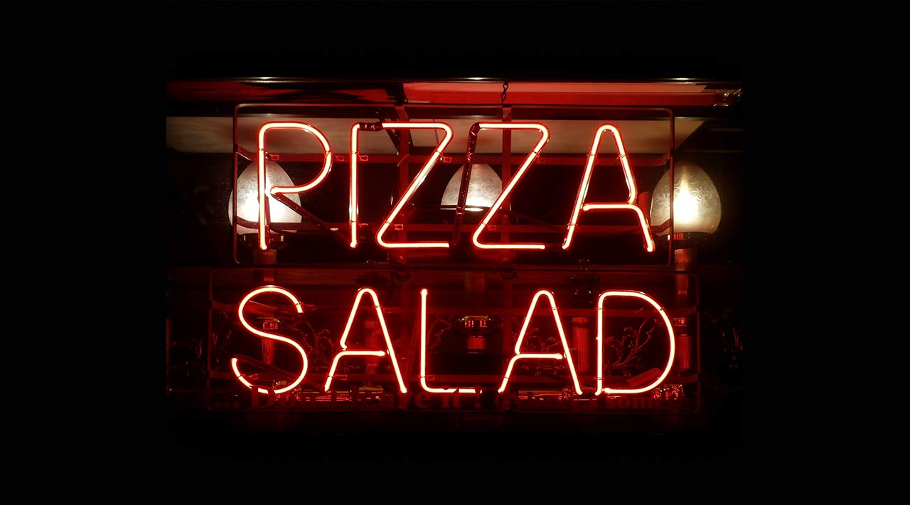 pizza and salad neon sign