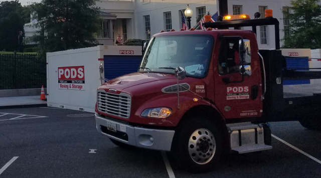 PODS delivery truck at white house renovation