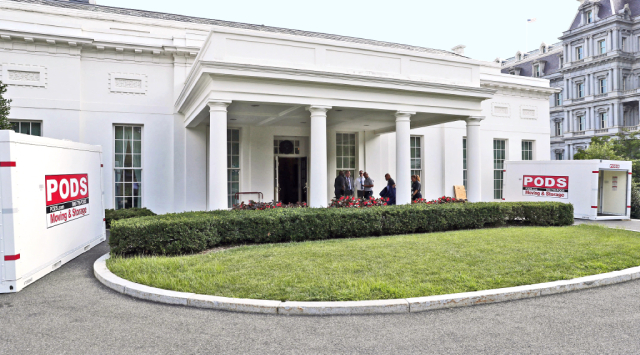 two PODS containers outside white house entrance