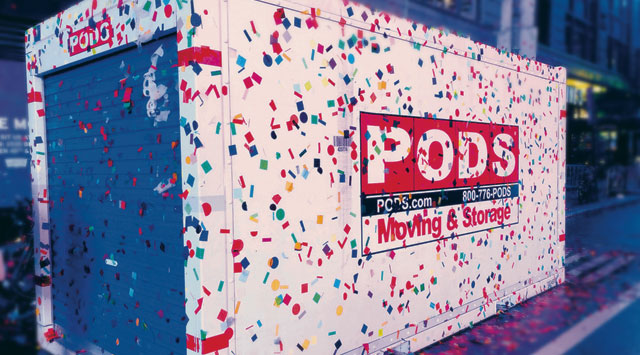 PODS for Business Secure Storage Container covered in confetti
