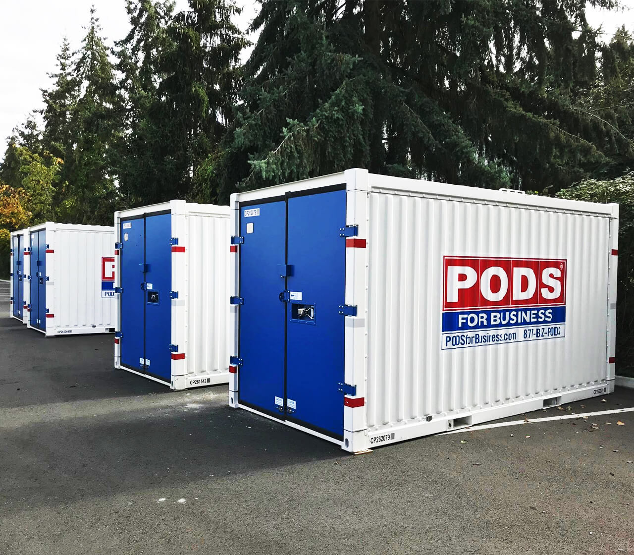 PODS onsite storage containers outdoors